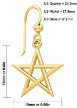 Gold Earrings With 5 Pointed Star Symbol - Details
