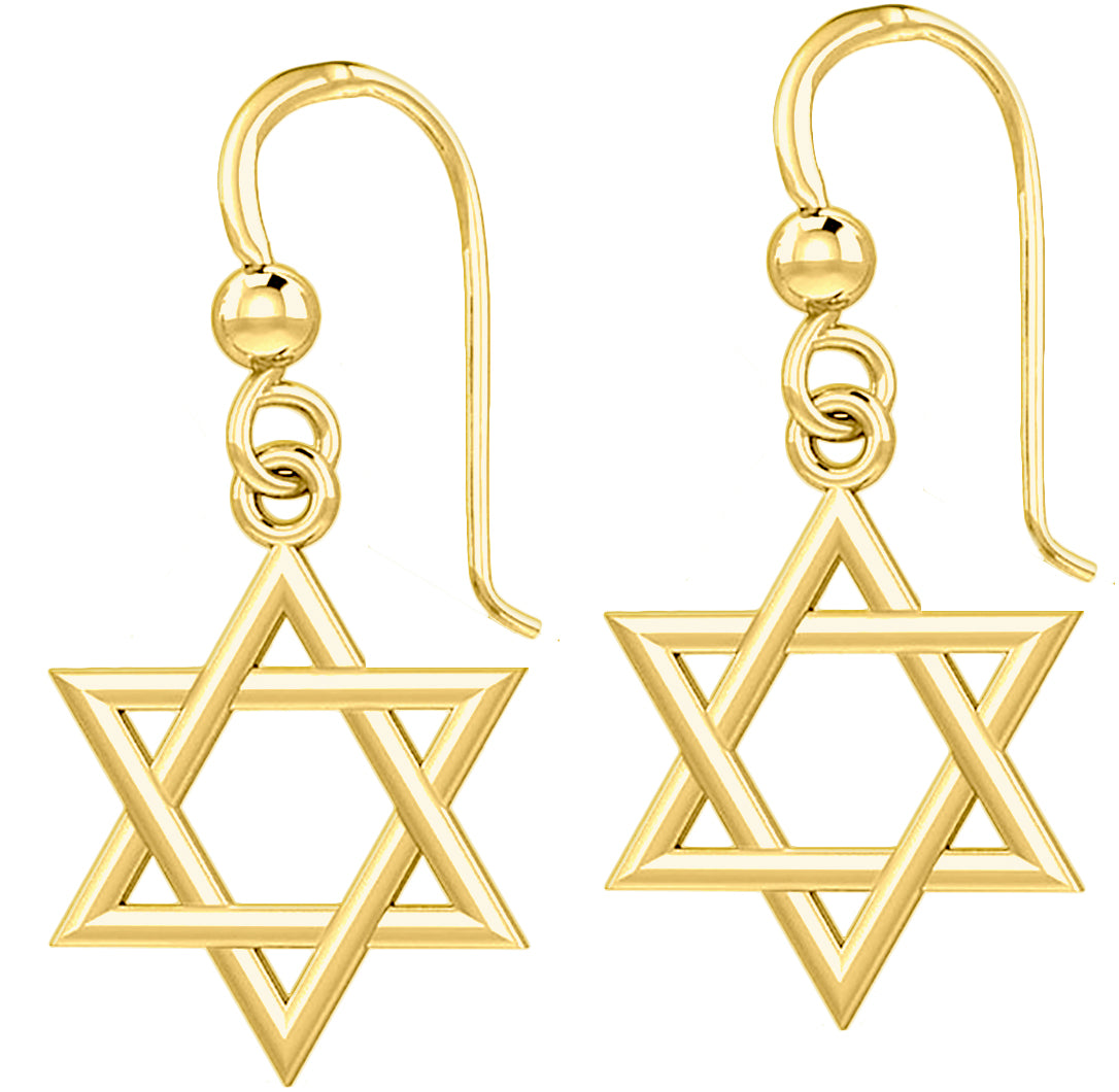 Gold Earrings - Star Of David Earrings Pair For Sale