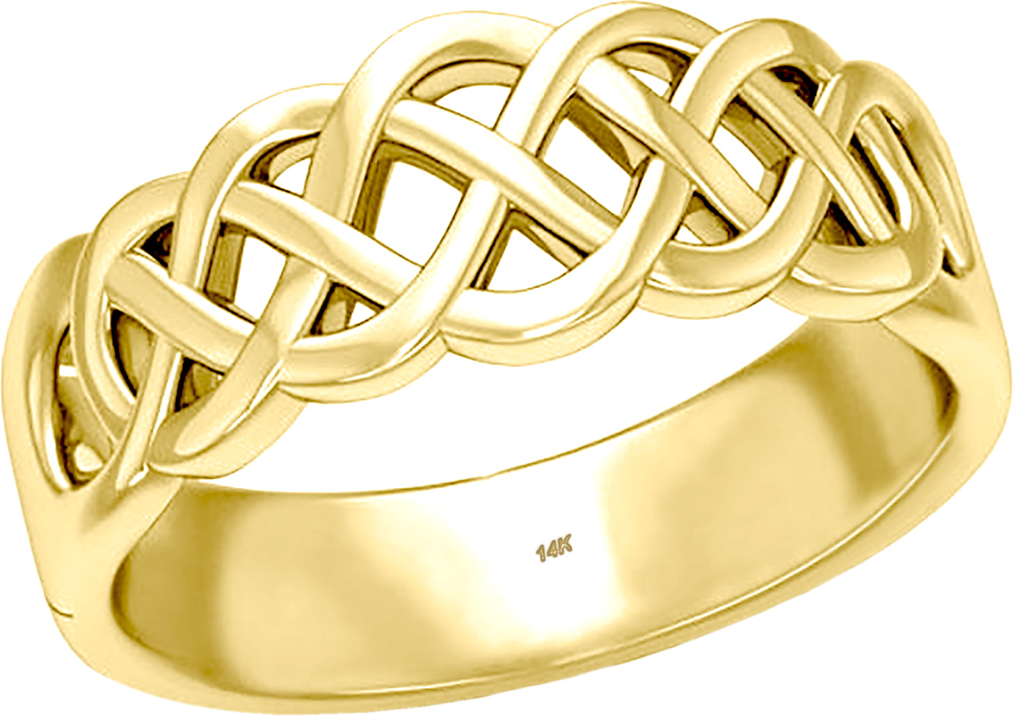 Gold Celtic Love Knot Wedding Band For Him