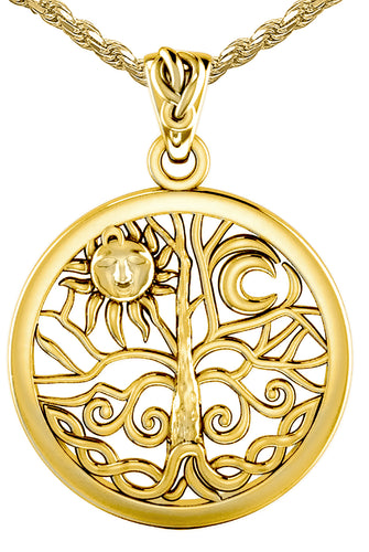 Tree Of Life Necklace - Pendant Necklace Of Yellow Gold