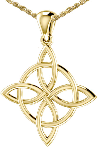 Celtic Necklace Of Yellow Gold With Quaternary Knot