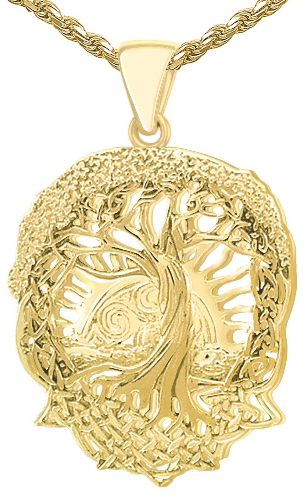 Tree Of Life Pendant - Creation Necklace In Yellow Gold