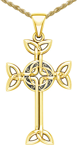 10k Yellow Gold Irish Celtic Cross Pendant Necklace