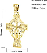 Claddagh Necklace With Cross Pendant In Gold - Size Details