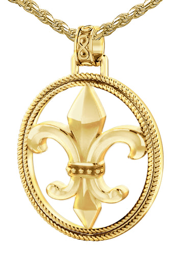 Fleur De Lis Necklace - Gold Pendant In Braided Design