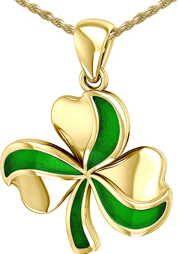 Shamrock Pendant - Clover Pendant In Yellow Gold