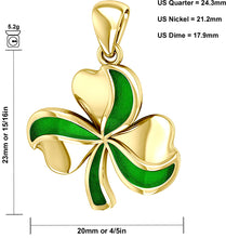 Shamrock Pendant In Yellow Gold - Details