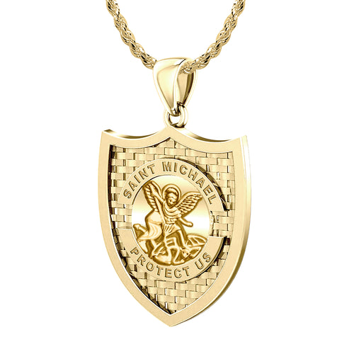 Saint Michael Pendant In Yellow Gold - 1.10mm Rope Chain