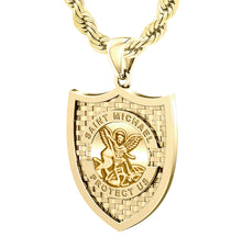 Saint Michael Pendant In 10K 14K Gold - 2.4mm Rope Chain
