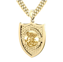 Saint Michael Pendant In 10K 14K Gold - 3.9mm Cuban Chain