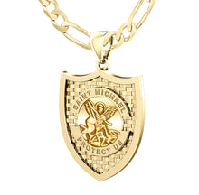 Saint Michael Pendant In 10K 14K Gold - 3.9mm Figaro Chain