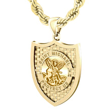 Saint Michael Pendant In 10K 14K Gold - 3mm Rope Chain