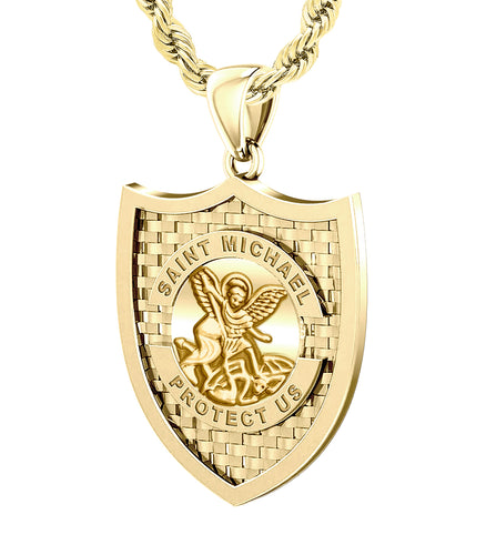 Saint Michael Pendant In Yellow Gold - 3.6mm Rope Chain