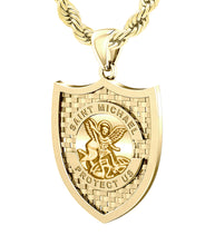 Saint Michael Pendant In Yellow Gold - 4.8mm Rope Chain