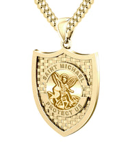 Saint Michael Pendant In Gold - 5.0mm Cuban Chain