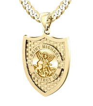 Saint Michael Pendant In Gold - 5.7mm Prime Curb Chain