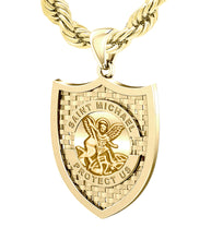 Saint Michael Pendant In Yellow Gold - 6.0mm Rope Chain