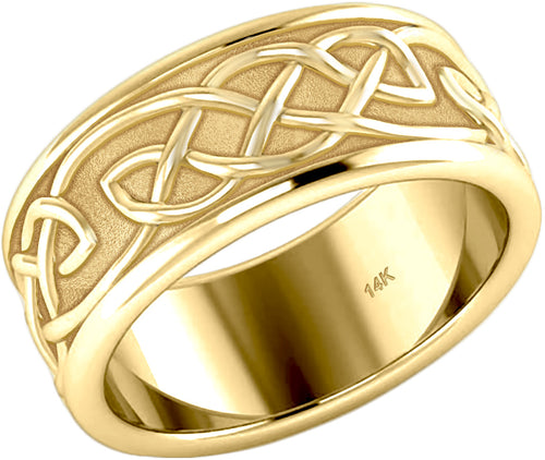 14k Yellow Gold Irish Celtic Knotwork Ring Band