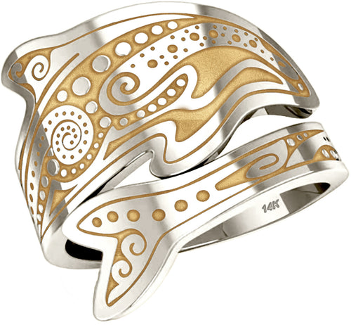 Tattoo Ring - Spoon Ring Women's In Two Tone Gold