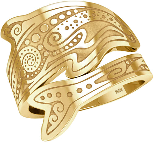 Tattoo Ring - Spoon Ring In Yellow Or White Gold