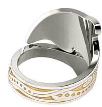 Tattoo Ring Women's In Two Tone Gold - Bottom View