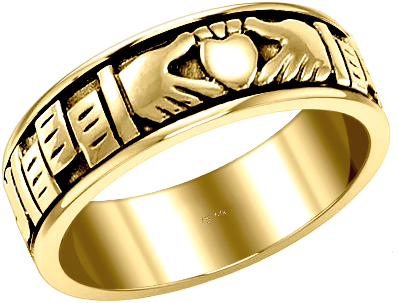 Irish Celtic Claddagh Wedding Spinner Ring Band - US Jewels