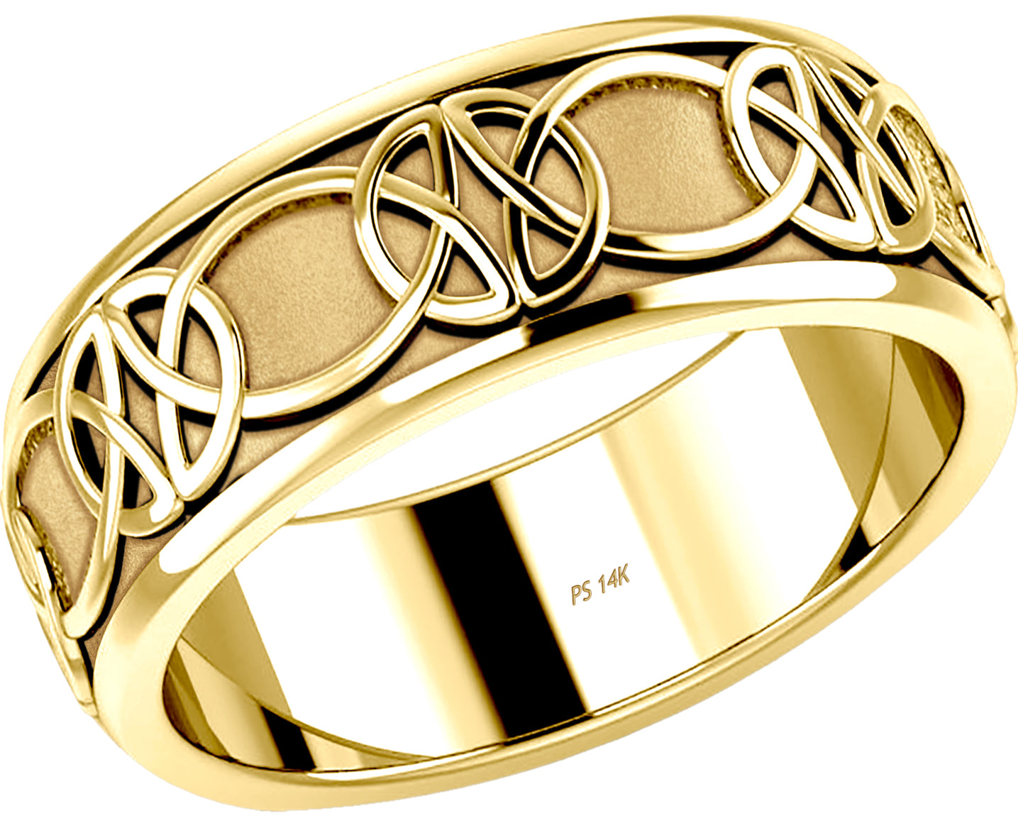 Yellow Gold Irish Celtic Knot Wedding Spinner Ring Band