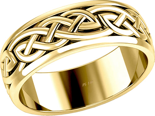 Irish Celtic Knot Wedding Spinner Ring Band For Men