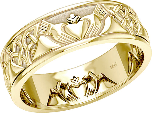 Celtic Knotwork Ring - Irish Claddagh Ring Band For Men