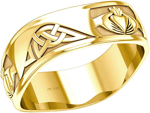 Claddagh Ring - Irish Claddagh Knot Ring 10k or 14k For Men