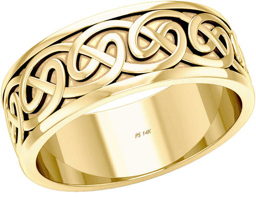 Gold Irish Celtic infinity loop design Love Knot Wedding Band