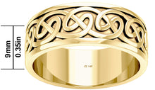 9mm x 9mm Gold Irish Celtic Endless Knot Wedding Ring