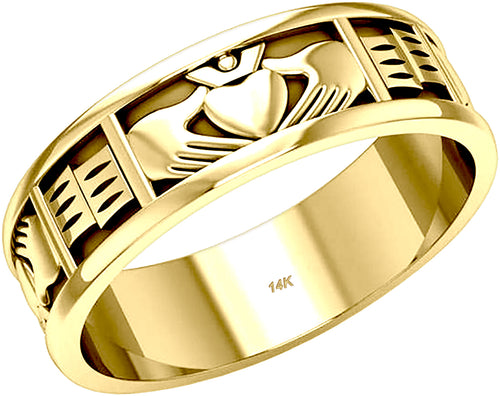 Irish Claddagh Wedding Band For Men in 10K or 14K Gold