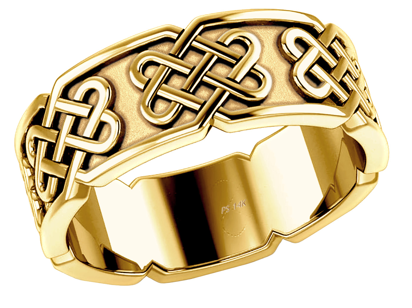 Gold Irish Love Knot Ring embossed with Celtic Knot panels
