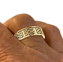 Men's Irish Love Knot Ring embossed with Celtic Knot panels
