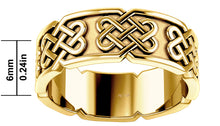 10K or 14K Gold Irish Celtic Love Knot Ring Band - 6mm x 6mm