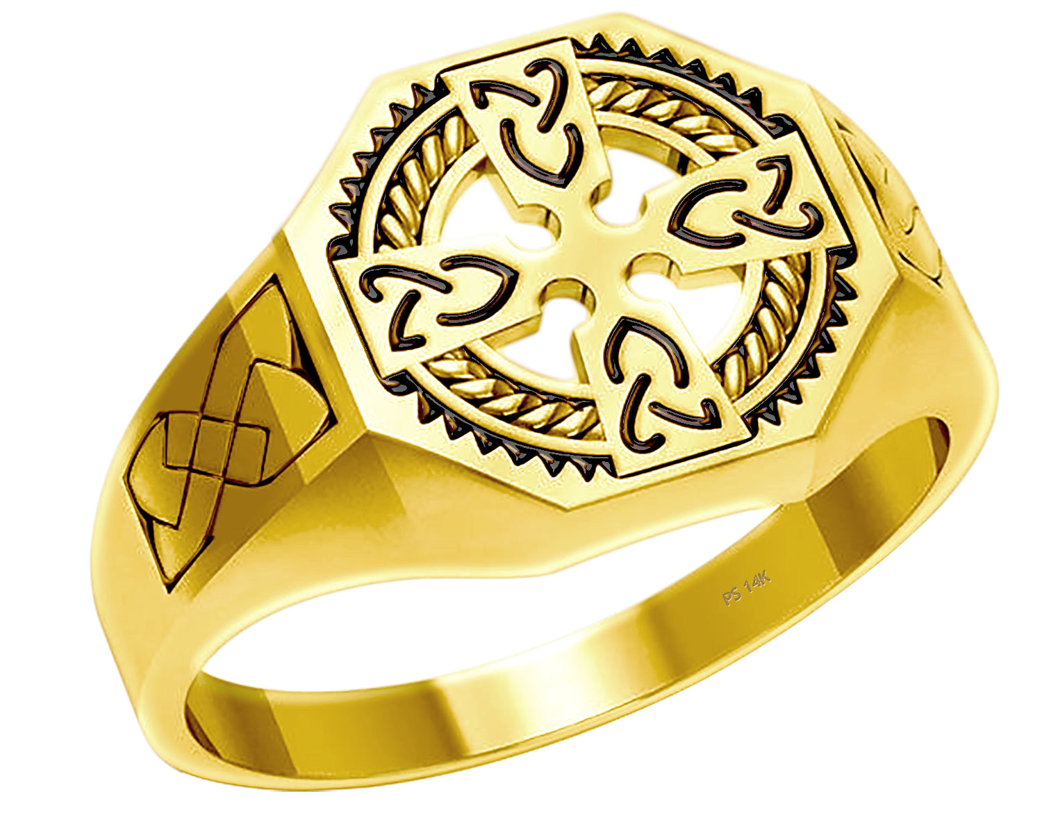 Cross Ring With Celtic Cross In Gold - Top View