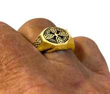 Cross Ring With Celtic Cross In Gold - Men