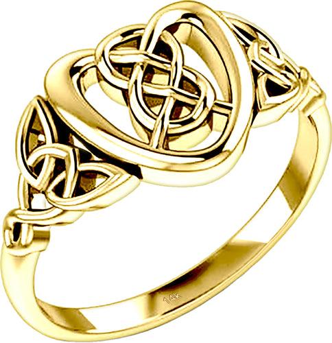 Ladies 10K or 14K Gold Irish Celtic Love Knot & Heart Ring - US Jewels