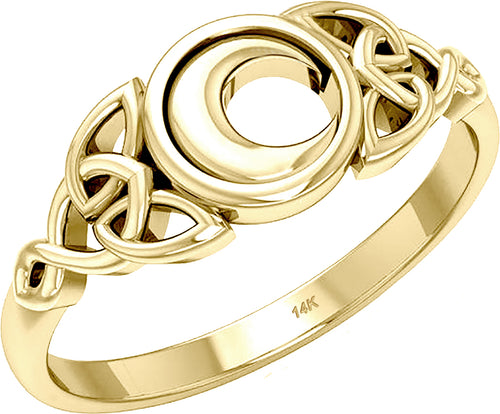 Irish Celtic Trinity Knot Moon Ring 10k 14k Gold For Ladies