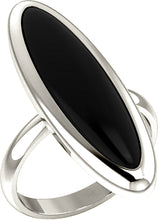 Women's White Gold Long Oval Inlaid Black Onyx Ring