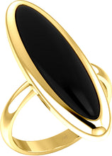 Women's Yellow Gold Long Oval Inlaid Black Onyx Ring