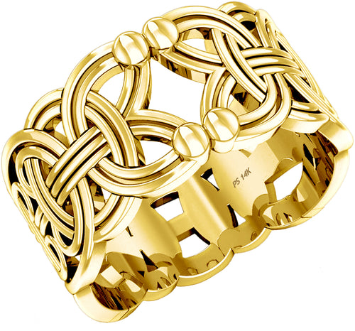Band Ring - Viking Rings Men In Yellow Or White Gold