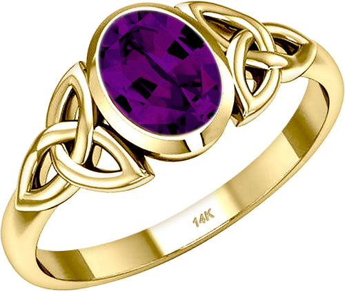 Ladies Trinity Genuine Amethyst February Birthstone Ring