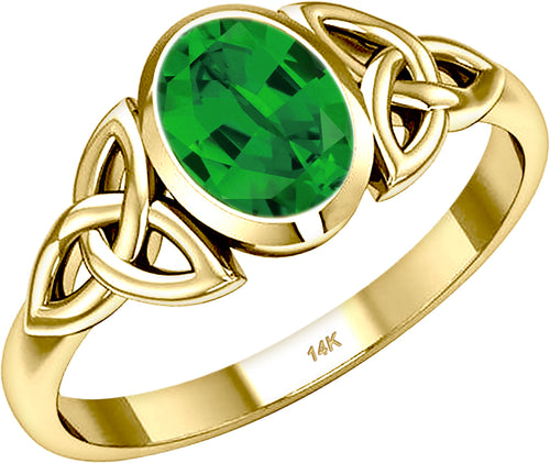 Gold Irish Celtic Trinity Chatham Emerald May Birthstone Ring