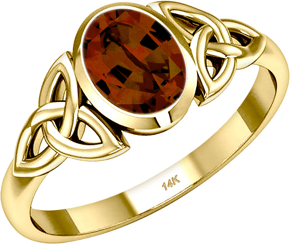 Gold Irish Trinity Genuine Garnet January Birthstone Ring