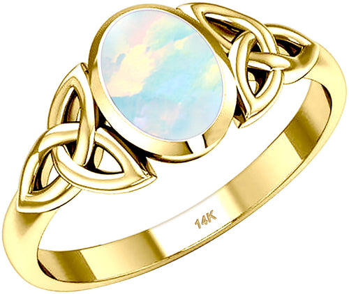 October Birthstone Ring Gold Trinity Genuine Opal