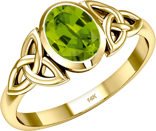 August Birthstone Ring - Ladies Trinity Genuine Peridot Ring