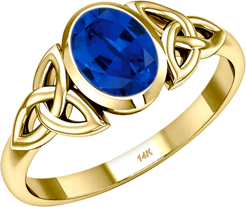Gold Irish Trinity Chatham Sapphire September Birthstone Ring