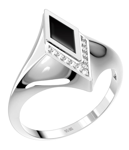 Ladies 925 Sterling Silver Genuine Diamond Black Onyx Ring